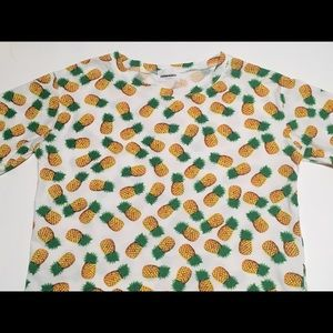 Tops - Pineapple Pattern Short Sleeve Graphic White Shirt